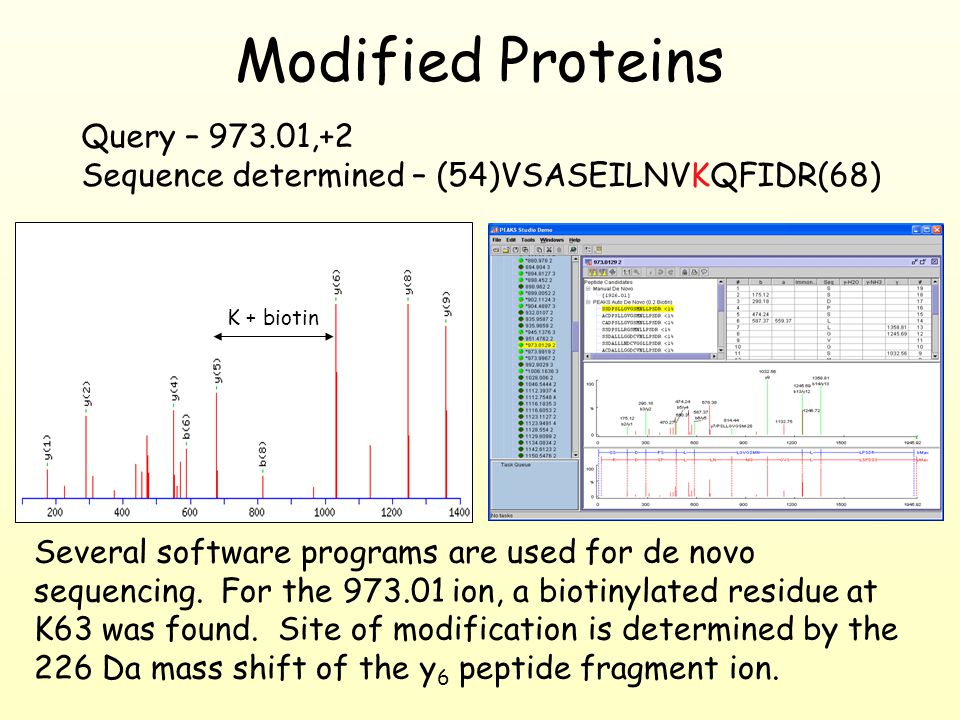Modified Proteins Several software programs are used for de novo sequencing.