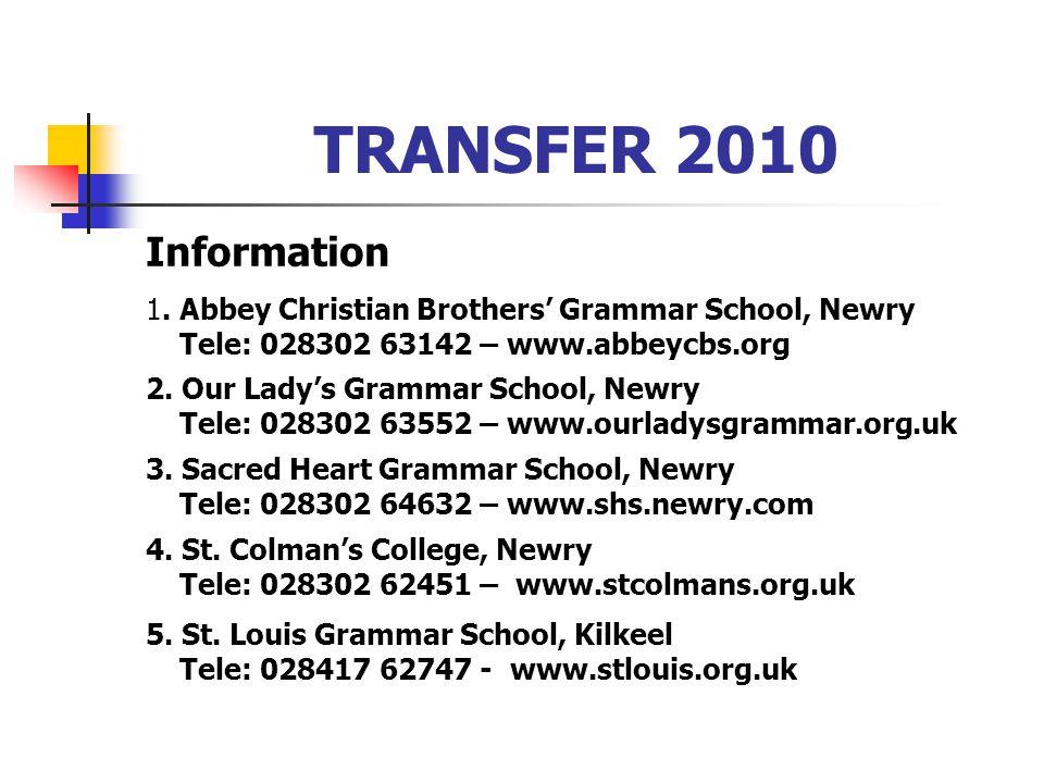 TRANSFER 2010 Information 1.