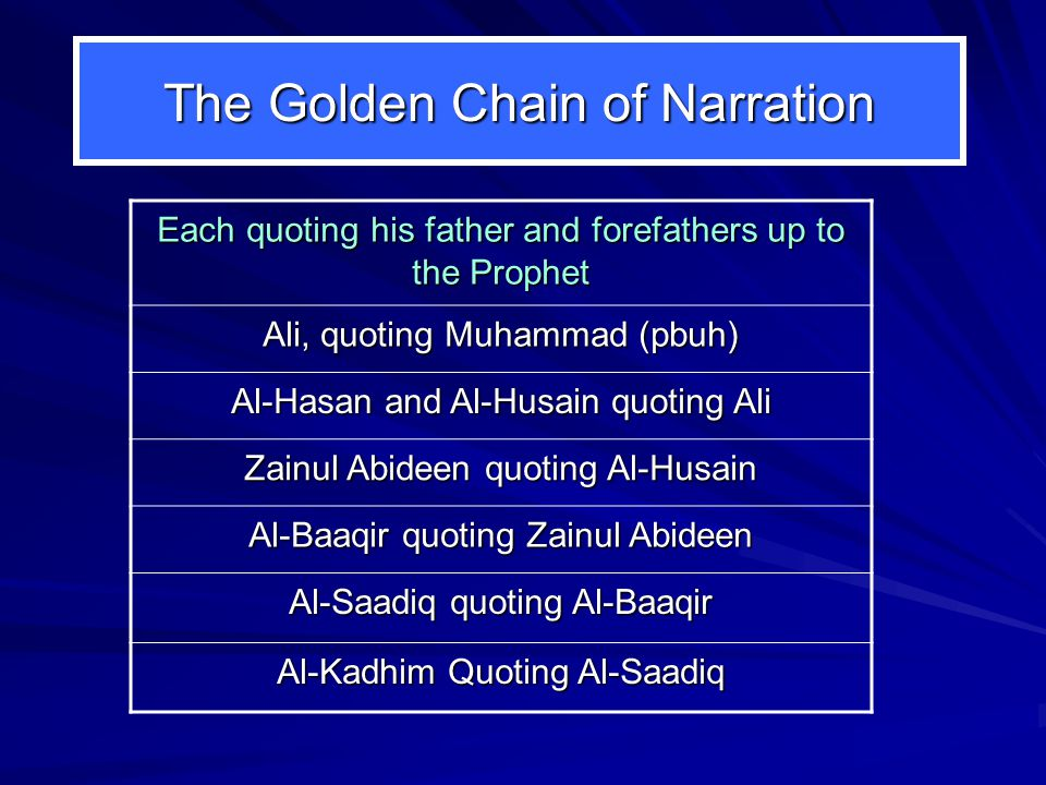 The Golden Chain of Narration Each quoting his father and forefathers up to the Prophet Ali, quoting Muhammad (pbuh) Al-Hasan and Al-Husain quoting Ali Zainul Abideen quoting Al-Husain Al-Baaqir quoting Zainul Abideen Al-Saadiq quoting Al-Baaqir Al-Kadhim Quoting Al-Saadiq