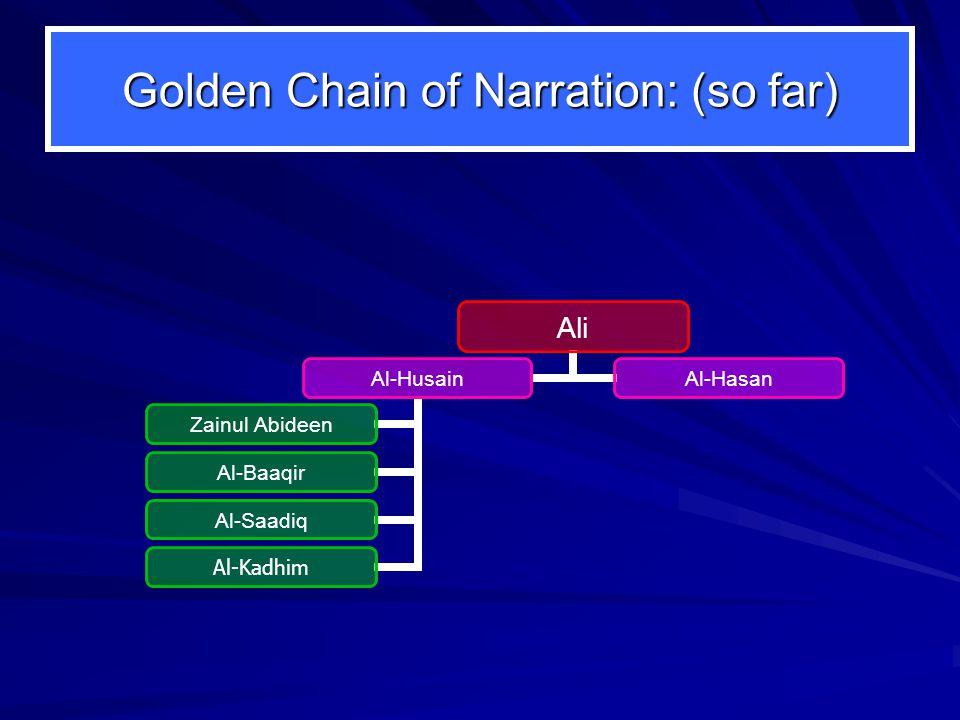 Golden Chain of Narration: (so far) Ali Al-Husain Zainul Abideen Al-Baaqir Al-Saadiq Al-Kadhim Al-Hasan