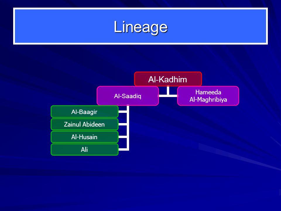 Lineage Al-Kadhim Al-Saadiq Al-Baagir Zainul Abideen Al-Husain Ali Hameeda Al-Maghribiya