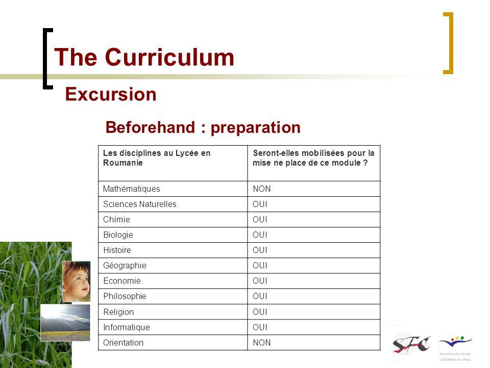 The Curriculum Excursion Beforehand : preparation Les disciplines au Lycée en Roumanie Seront-elles mobilisées pour la mise ne place de ce module ? Ma