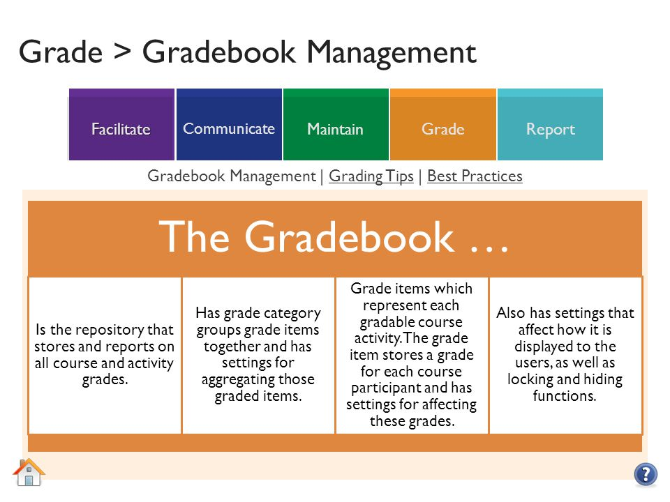 ReportGradeMaintain Communicate Facilitate Grade > Gradebook Management The Gradebook … Is the repository that stores and reports on all course and activity grades.
