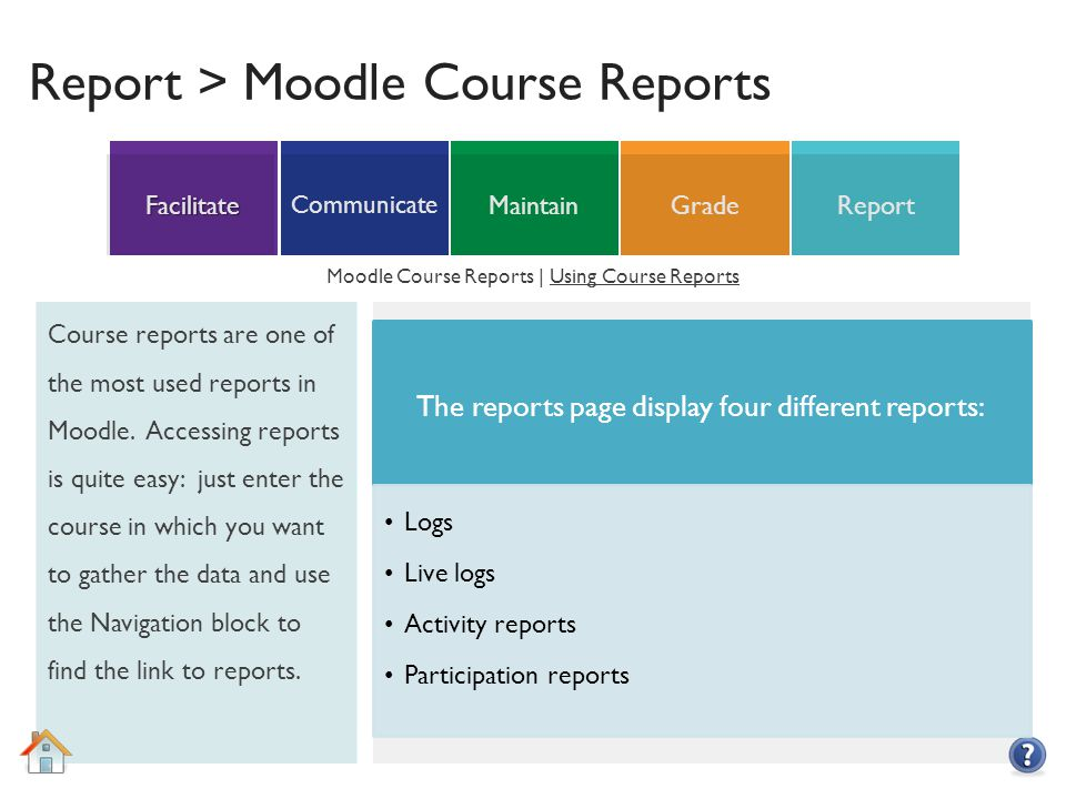 ReportGradeMaintain Communicate Facilitate Report > Moodle Course Reports Course reports are one of the most used reports in Moodle.