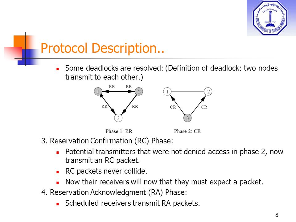 Number of reservation cycles M needed Because of the randomness of the protocol, it may take many cycles until no other node can be added to the set of transmitting nodes.