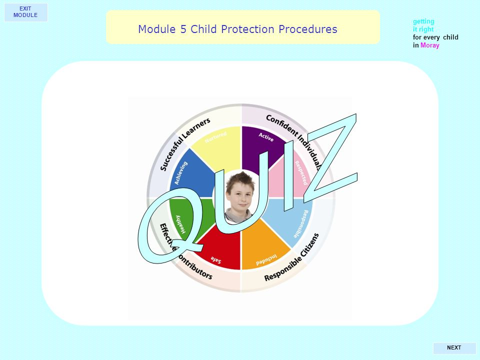 getting it right for every child in Moray NEXT Module 5 Child Protection Procedures EXIT MODULE
