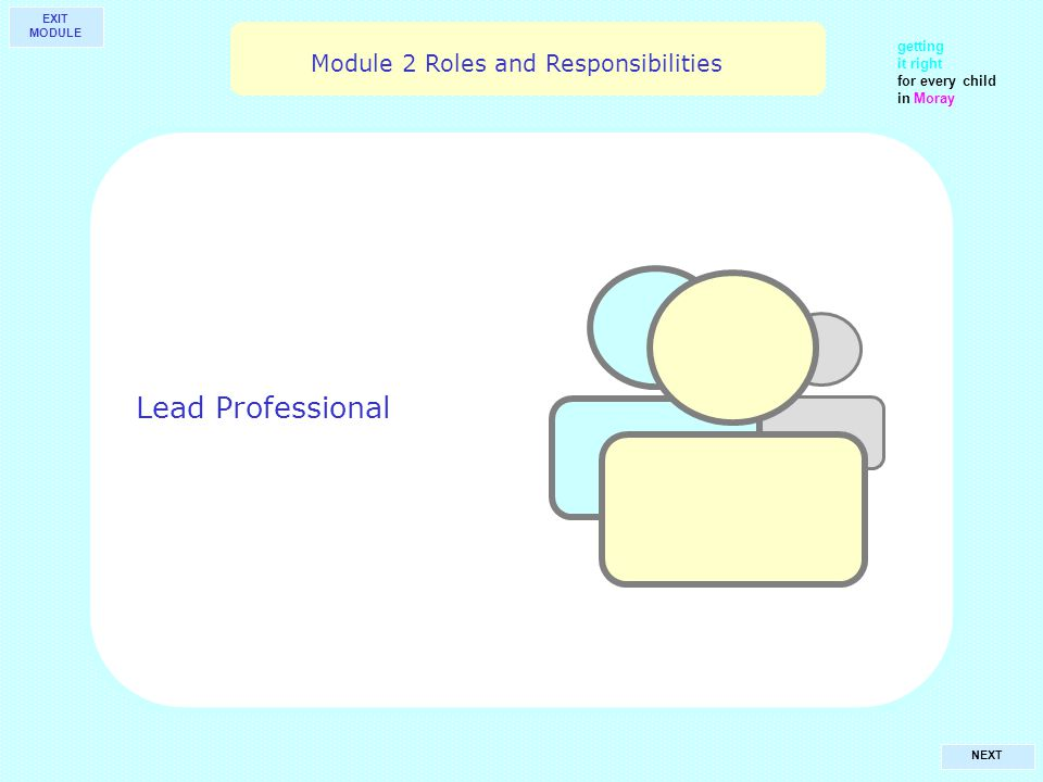 getting it right for every child in Moray NEXT Lead Professional Module 2 Roles and Responsibilities EXIT MODULE