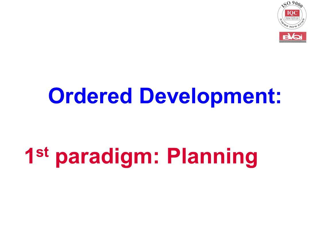 Ordered Development: 1 st paradigm: Planning