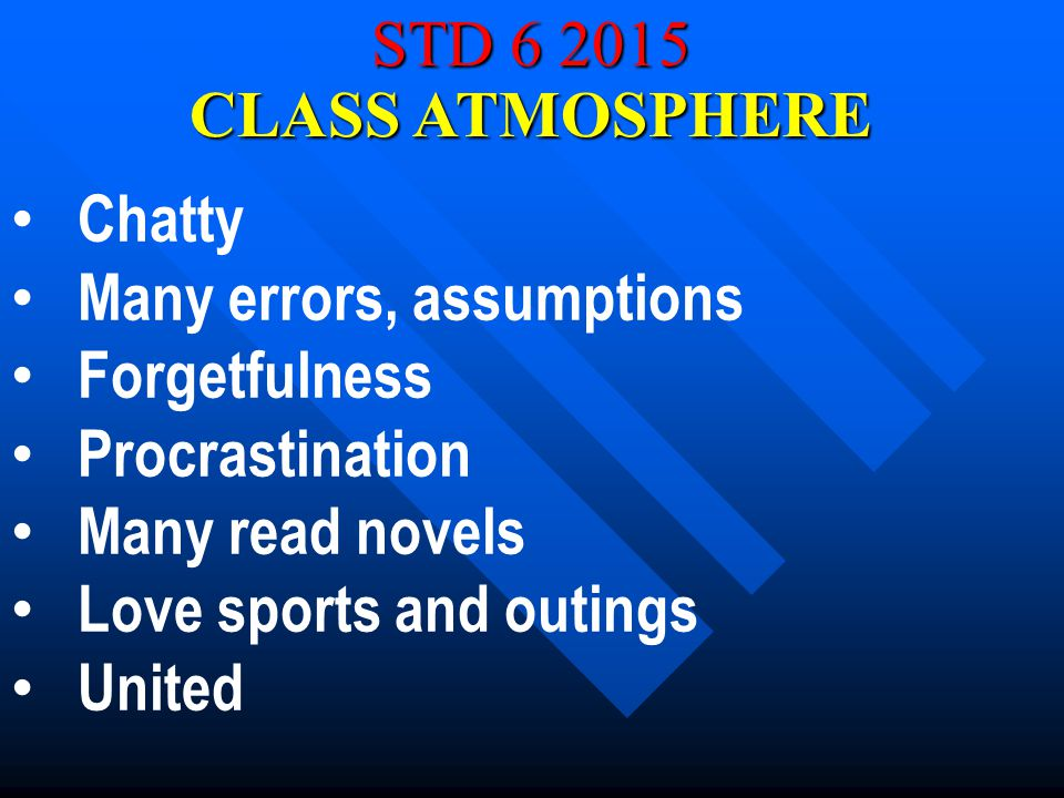 STD 6 2015 Chatty Many errors, assumptions Forgetfulness Procrastination Many read novels Love sports and outings United CLASS ATMOSPHERE