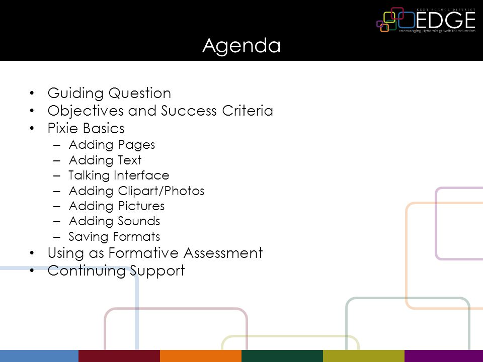 Agenda Guiding Question Objectives and Success Criteria Pixie Basics – Adding Pages – Adding Text – Talking Interface – Adding Clipart/Photos – Adding