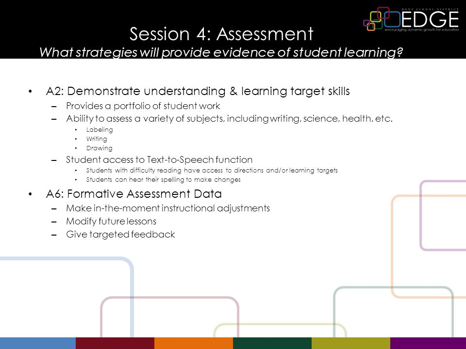 Session Objectives and Success Criteria Lesson Objective: Participants will be able to create a Pixie template to use as formative assessment allowing them to give targeted feedback to students and a way for students to assess and monitor their own progress.