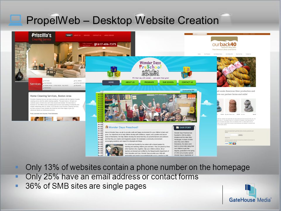 PropelWeb – Desktop Website Creation  Only 13% of websites contain a phone number on the homepage  Only 25% have an email address or contact forms  36% of SMB sites are single pages