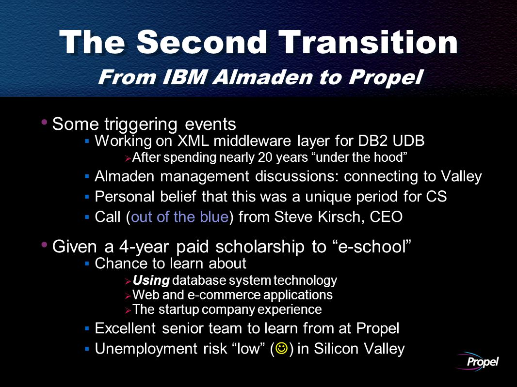 The Second Transition From IBM Almaden to Propel Some triggering events  Working on XML middleware layer for DB2 UDB  After spending nearly 20 years under the hood  Almaden management discussions: connecting to Valley  Personal belief that this was a unique period for CS  Call (out of the blue) from Steve Kirsch, CEO Given a 4-year paid scholarship to e-school  Chance to learn about  Using database system technology  Web and e-commerce applications  The startup company experience  Excellent senior team to learn from at Propel  Unemployment risk low ( ) in Silicon Valley