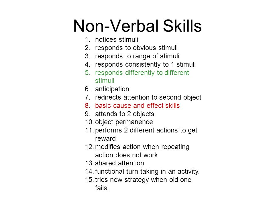 Non-Verbal Skills 1.notices stimuli 2.responds to obvious stimuli 3.responds to range of stimuli 4.responds consistently to 1 stimuli 5.responds differently to different stimuli 6.anticipation 7.redirects attention to second object 8.basic cause and effect skills 9.attends to 2 objects 10.object permanence 11.performs 2 different actions to get reward 12.modifies action when repeating action does not work 13.shared attention 14.functional turn-taking in an activity.