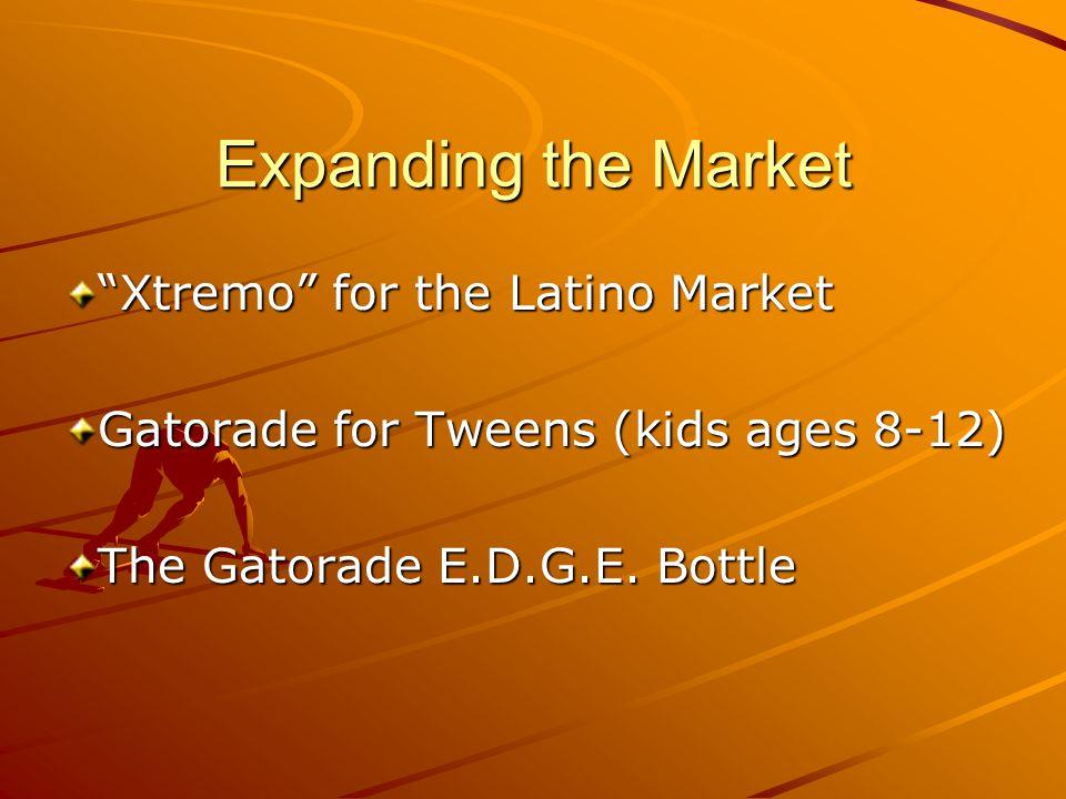 Expanding the Market Xtremo for the Latino Market Gatorade for Tweens (kids ages 8-12) The Gatorade E.D.G.E.