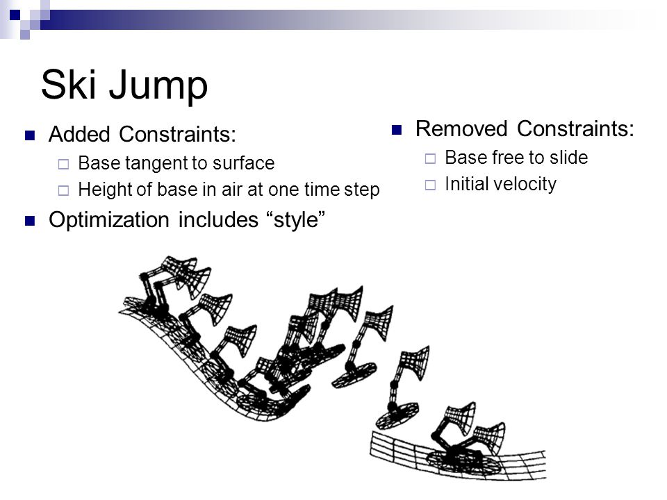 Ski Jump Added Constraints:  Base tangent to surface  Height of base in air at one time step Optimization includes style Removed Constraints:  Base free to slide  Initial velocity