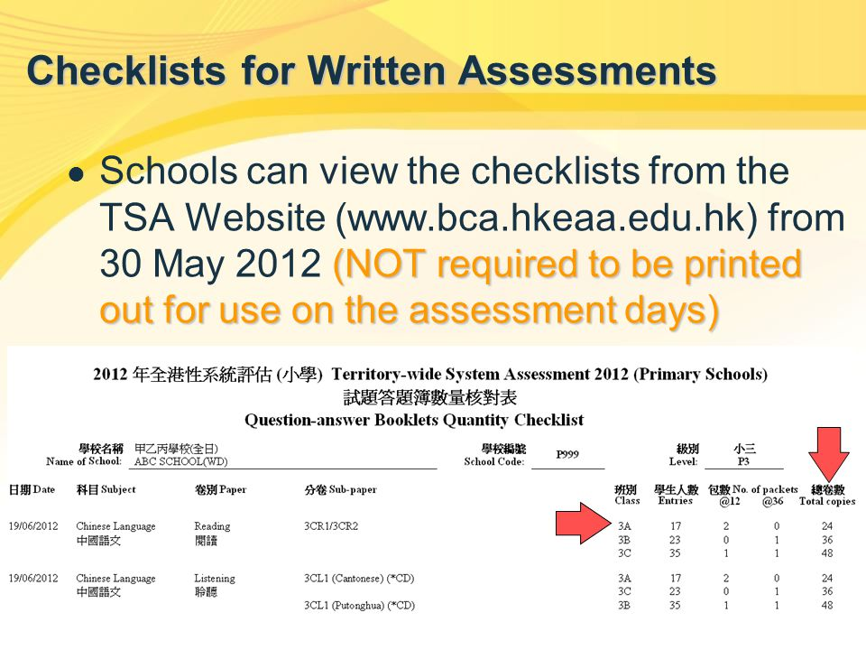 (NOT required to be printed out for use on the assessment days) Schools can view the checklists from the TSA Website (www.bca.hkeaa.edu.hk) from 30 Ma