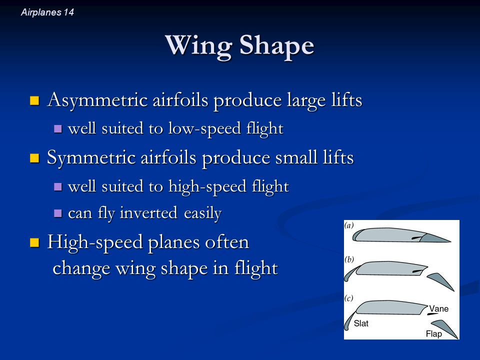 Airplanes 14 Wing Shape Asymmetric airfoils produce large lifts Asymmetric airfoils produce large lifts well suited to low-speed flight well suited to low-speed flight Symmetric airfoils produce small lifts Symmetric airfoils produce small lifts well suited to high-speed flight well suited to high-speed flight can fly inverted easily can fly inverted easily High-speed planes often change wing shape in flight High-speed planes often change wing shape in flight