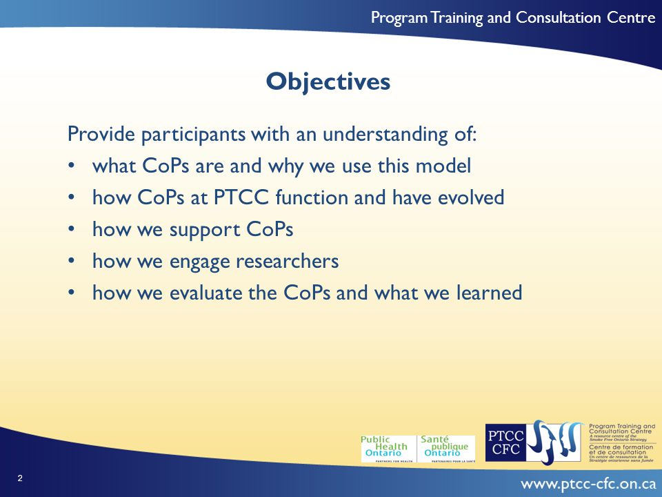 Program Training and Consultation Centre Our Thinking… Complex problems require complex solutions that get used (Best et al., 2009) Knowledge exchange, learning and integrating diverse perspectives are critical to generating these solutions Hard to do - requires different organizations and sectors with different values, ways of thinking and doing to work well together (Fiol et al., 2009, LeBaron, 2003) 23
