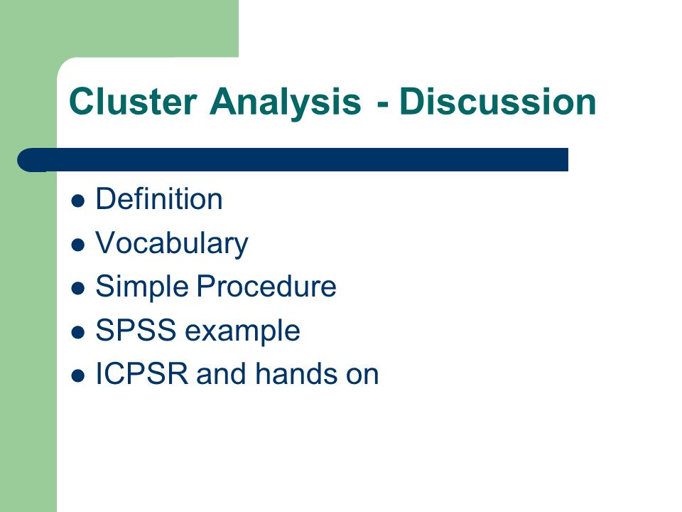 Definition Cluster analysis is a process by which we take a large number of cases (read that observations across respondents) and reduce them into a smaller number of mutually exclusive groups , by clustering the shared variation among respondents across variables.