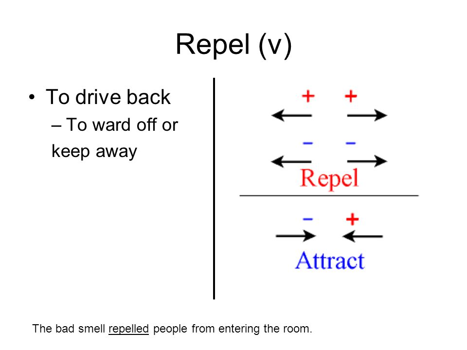 Repel (v) To drive back –To ward off or keep away The bad smell repelled people from entering the room.
