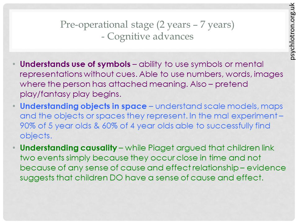 psychlotron.org.uk Pre-operational stage (2 years – 7 years) - Cognitive advances Understands use of symbols – ability to use symbols or mental repres