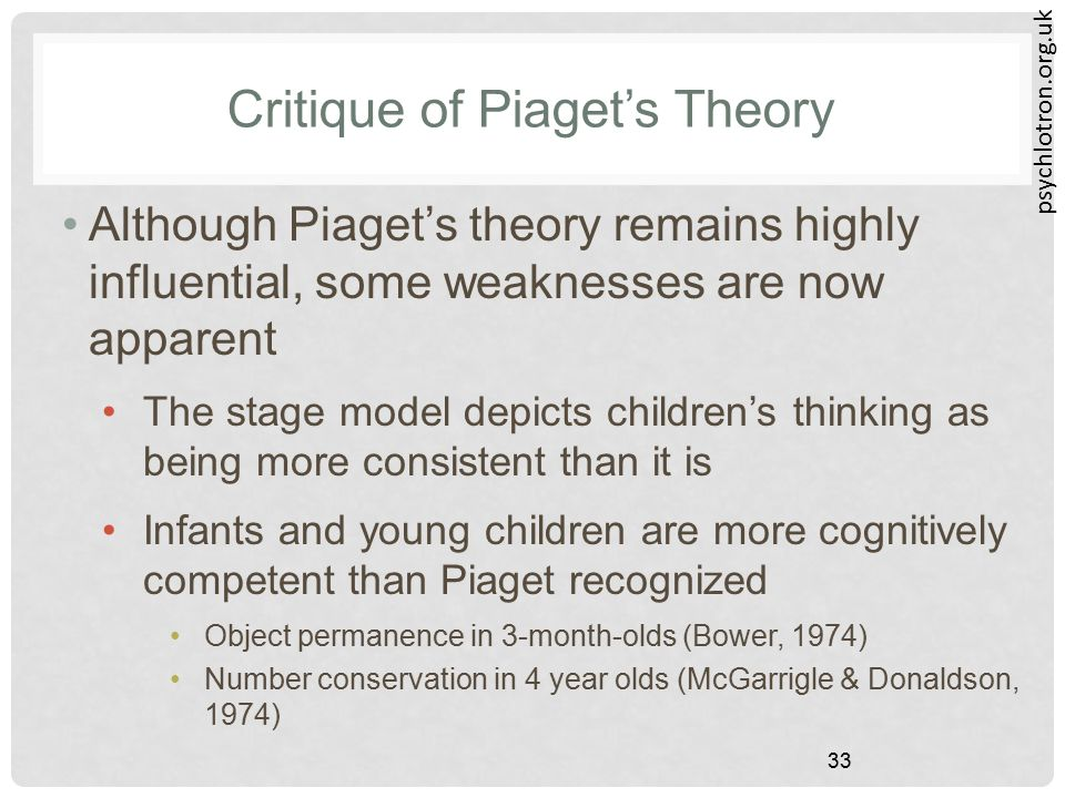 psychlotron.org.uk 33 Critique of Piaget's Theory Although Piaget's theory remains highly influential, some weaknesses are now apparent The stage mode