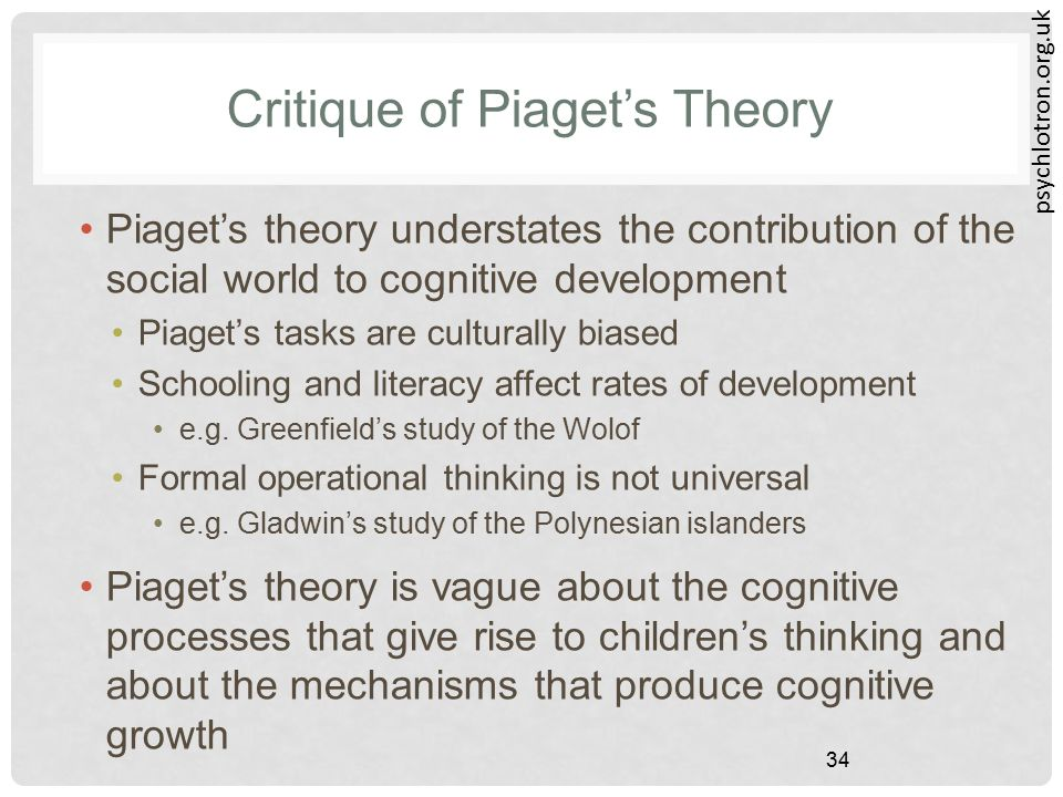 psychlotron.org.uk 34 Critique of Piaget's Theory Piaget's theory understates the contribution of the social world to cognitive development Piaget's t
