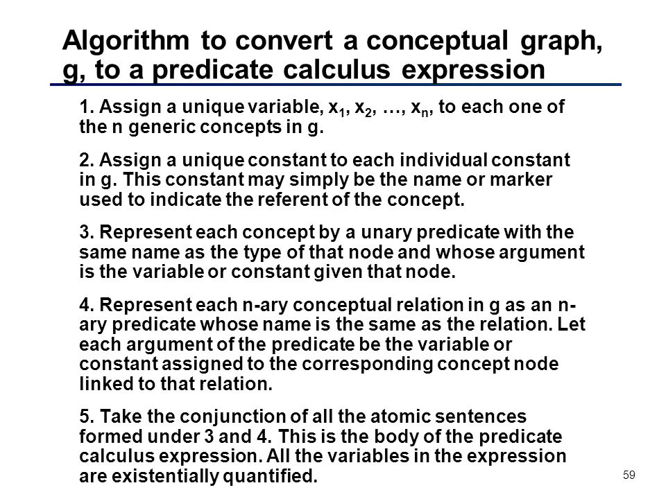 59 Algorithm to convert a conceptual graph, g, to a predicate calculus expression 1. Assign a unique variable, x 1, x 2, …, x n, to each one of the n