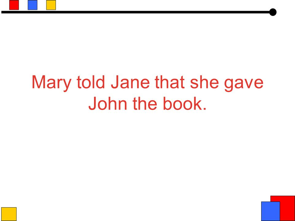Mary told Jane that she gave John the book.