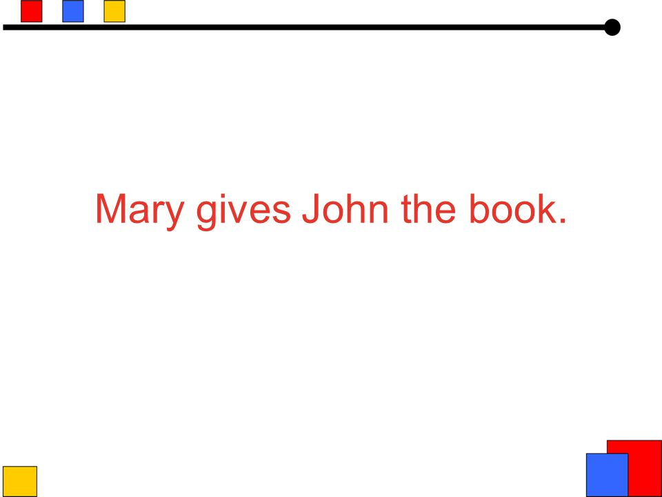 John ATRANSBook o R to from Mary Book is the object Recipient/Donor Relation John received the book from Mary Mary gave the book to John