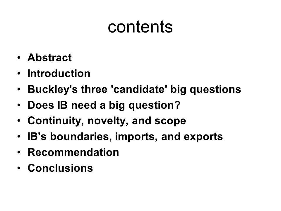 If IB has no big Question in research, the primary consequences for IB are likely to be the field s continued classification as a preparadigm field with little hope of becoming a more respected discipline characterized by a widely accepted paradigm and a set of core questions around which (most of) the field s research activities are organized; In general, areas of inquiry do not become distinct scientific disciplines until they adopt a paradigm (Kuhn, 1970), and there is no reason to think that IB is an exception to this rule (Peng, 2001, 822).