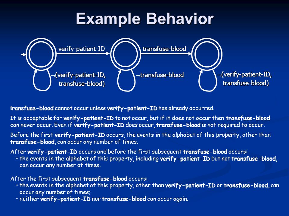 Example Behavior t ransfuse-blood cannot occur unless verify-patient-ID has already occurred.