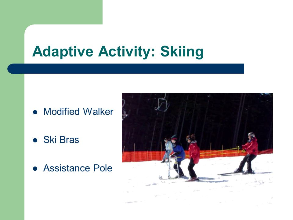 Adaptive Activity: Skiing Modified Walker Ski Bras Assistance Pole