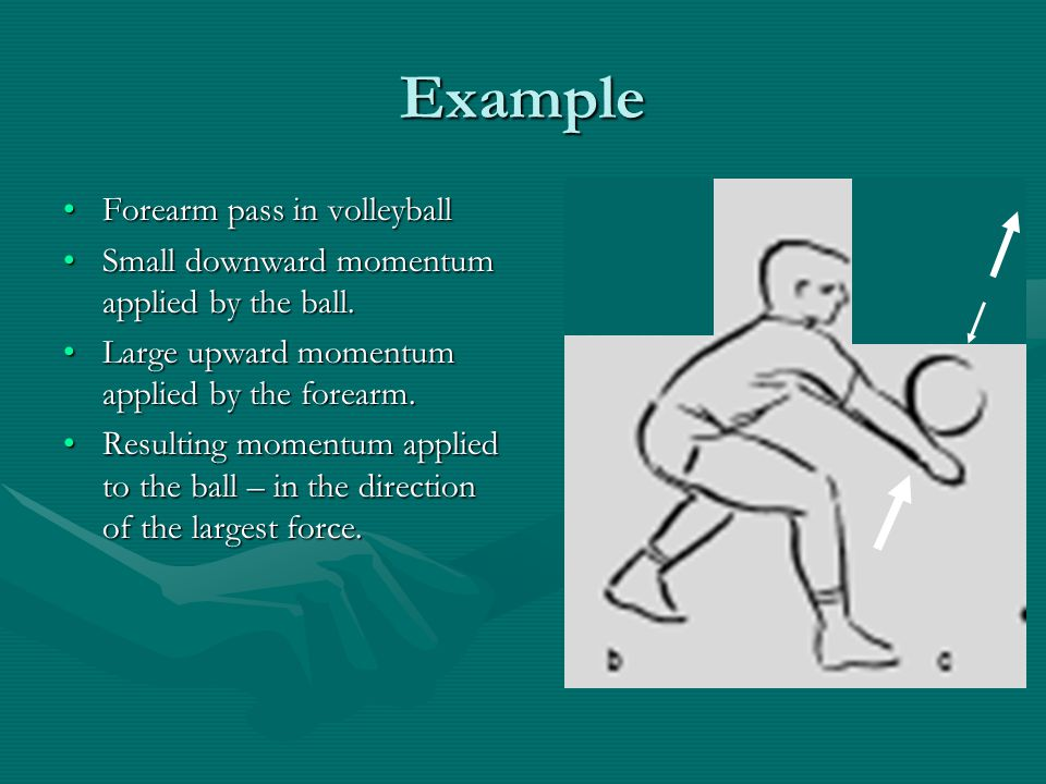 Example Forearm pass in volleyballForearm pass in volleyball Small downward momentum applied by the ball.Small downward momentum applied by the ball.