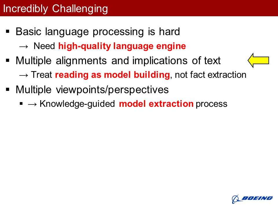 Incredibly Challenging  Basic language processing is hard → Need high-quality language engine  Multiple alignments and implications of text → Treat reading as model building, not fact extraction  Multiple viewpoints/perspectives  → Knowledge-guided model extraction process