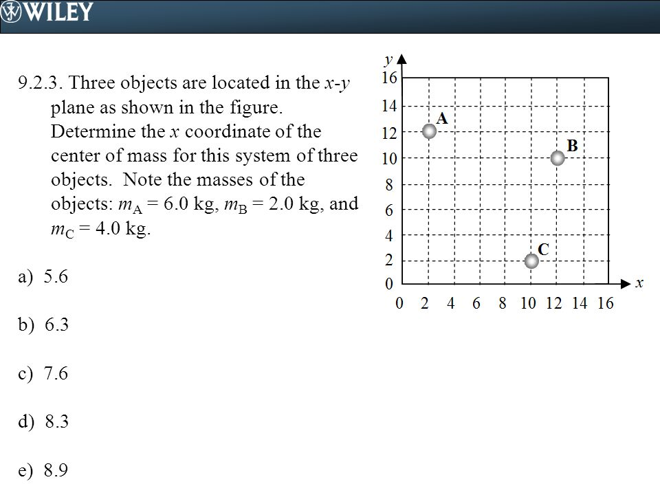 9.2.3. Three objects are located in the x-y plane as shown in the figure. Determine the x coordinate of the center of mass for this system of three o