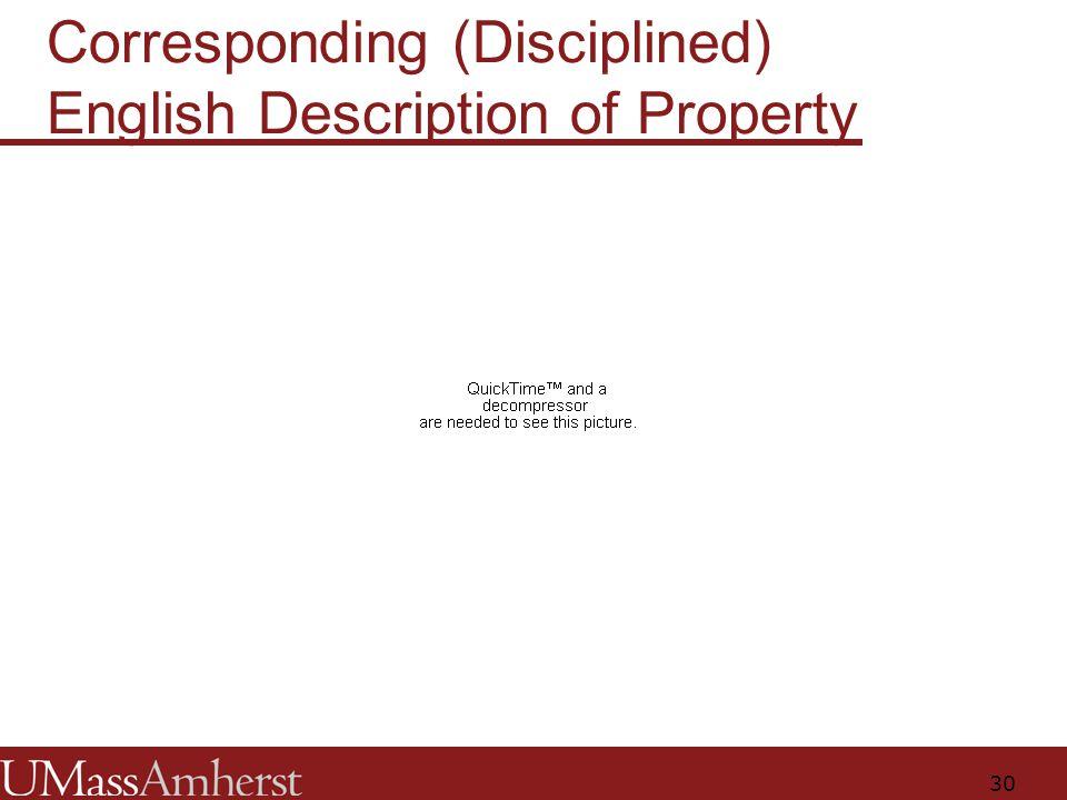 30 Corresponding (Disciplined) English Description of Property