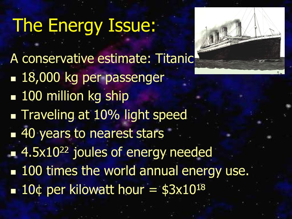 The Energy Issue: A conservative estimate: Titanic 18,000 kg per passenger 100 million kg ship Traveling at 10% light speed 40 years to nearest stars 4.5x10 22 joules of energy needed 100 times the world annual energy use.