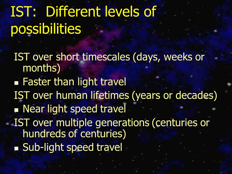 IST: Different levels of possibilities IST over short timescales (days, weeks or months) Faster than light travel IST over human lifetimes (years or decades) Near light speed travel IST over multiple generations (centuries or hundreds of centuries) Sub-light speed travel