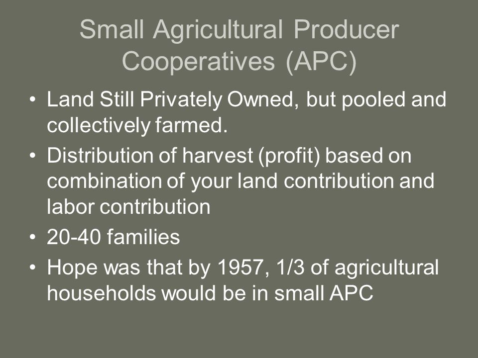Small Agricultural Producer Cooperatives (APC) Land Still Privately Owned, but pooled and collectively farmed.