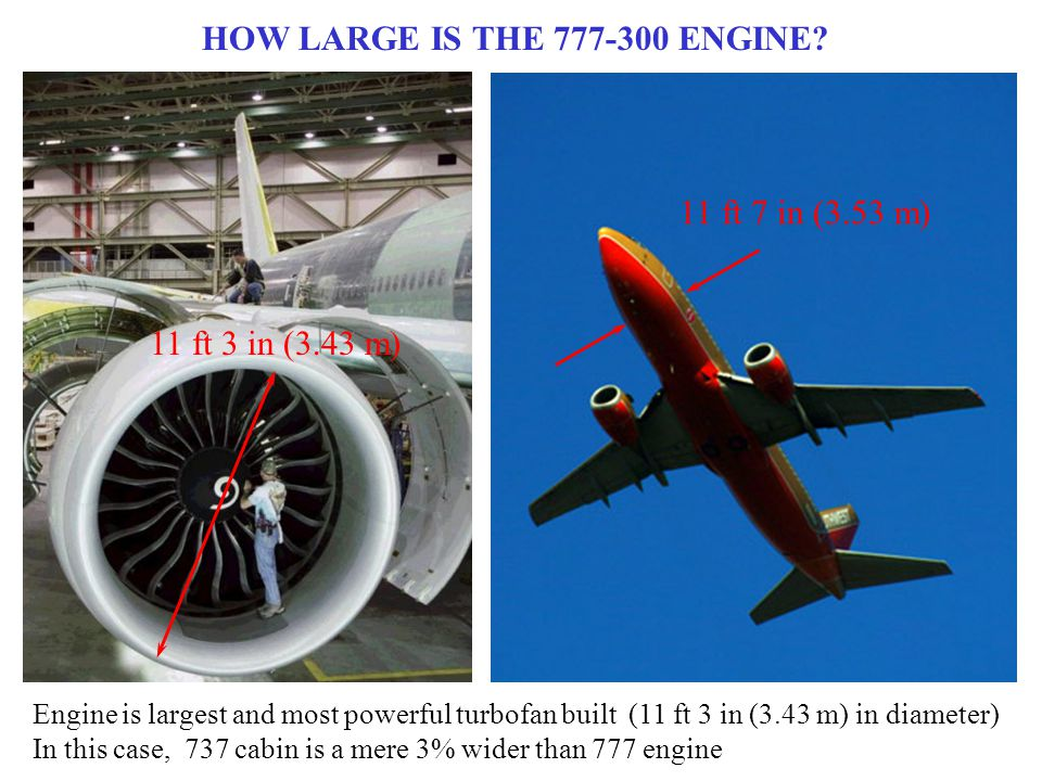 HOW LARGE IS THE 777-300 ENGINE.