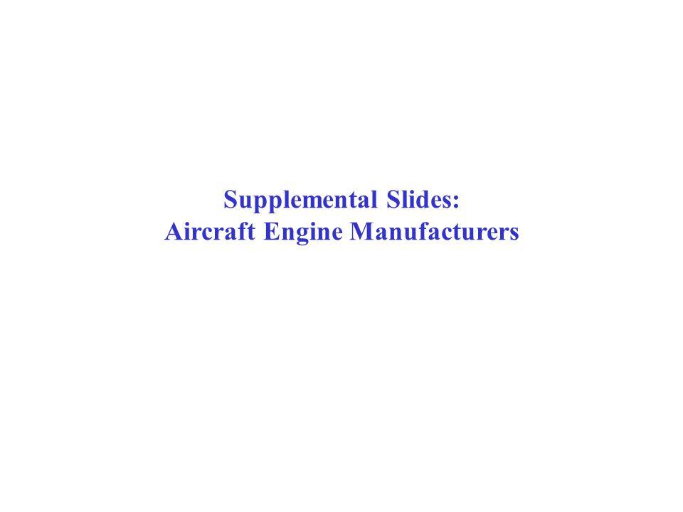 Supplemental Slides: Aircraft Engine Manufacturers