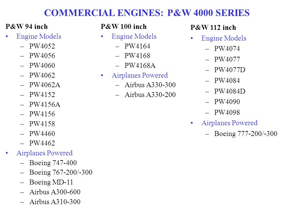 P&W 94 inch Engine Models –PW4052 –PW4056 –PW4060 –PW4062 –PW4062A –PW4152 –PW4156A –PW4156 –PW4158 –PW4460 –PW4462 Airplanes Powered –Boeing 747-400