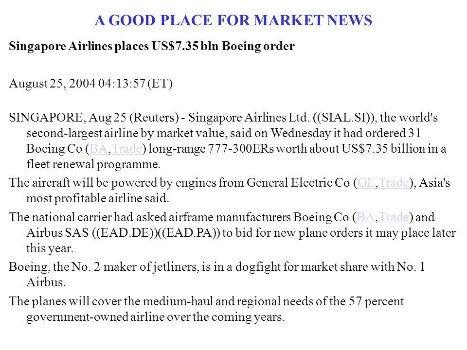 A GOOD PLACE FOR MARKET NEWS Singapore Airlines places US$7.35 bln Boeing order August 25, 2004 04:13:57 (ET) SINGAPORE, Aug 25 (Reuters) - Singapore