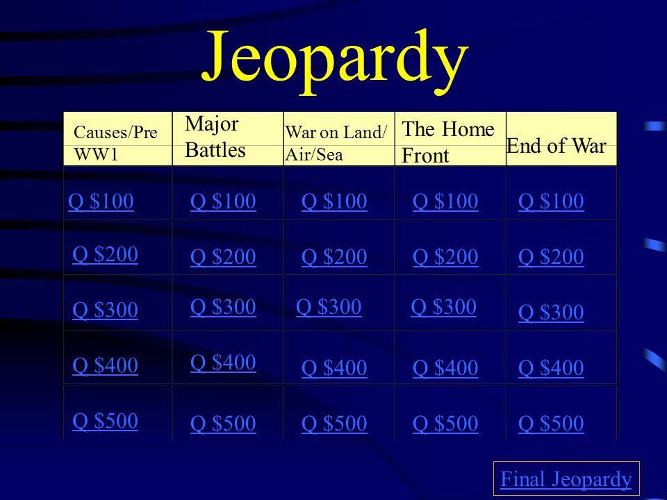 Jeopardy Causes/Pre WW1 Major Battles War on Land/ Air/Sea The Home Front End of War Q $100 Q $200 Q $300 Q $400 Q $500 Q $100 Q $200 Q $300 Q $400 Q $500 Final Jeopardy