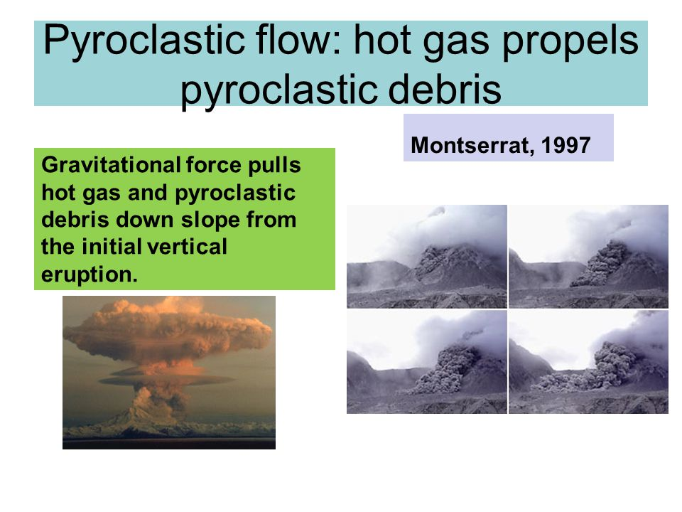 Pyroclastic flow: hot gas propels pyroclastic debris Gravitational force pulls hot gas and pyroclastic debris down slope from the initial vertical eru