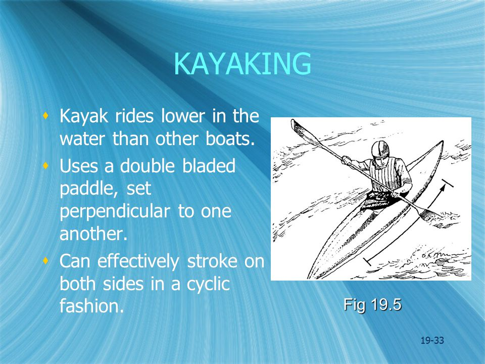 19-33 KAYAKING  Kayak rides lower in the water than other boats.