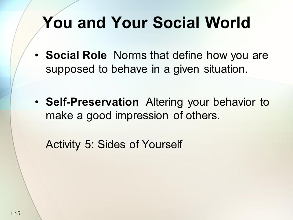 1-15 You and Your Social World Social Role Norms that define how you are supposed to behave in a given situation. Self-Preservation Altering your beha