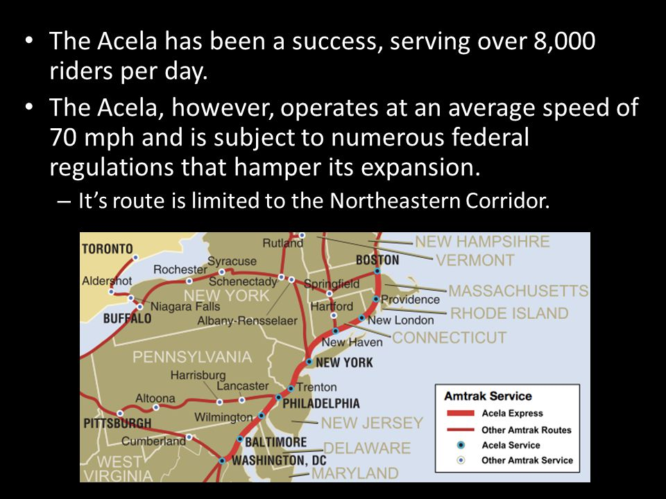 The Acela has been a success, serving over 8,000 riders per day.